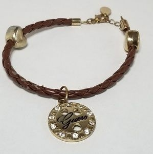 GUESS Gold & leather Bracelet with Golden Logo